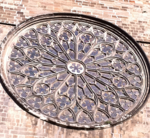 Gothic 'Rose Window' in the temple of Santa Maria del Pi (Cita Vella, Barcelona, Spain)