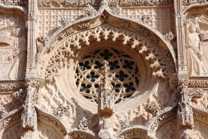Gothic Rose window of the Church of Saint Pablo in Valladolid, Spain