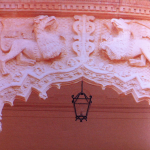 Fig. 3. Gryphons in Architectural decorations. Detail of the two Gryphons motif in the upper gallery of the Palacio del Infantado in Guadalajar, Spain (Author's private collection).